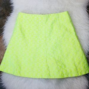 J. Crew size 2 neon yellow embroidered bell skirt